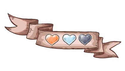 Hand drawn hearts and vintage ribbon. Design elements for Valentines day. Vector illustration.