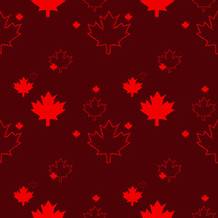 A seamless Canadian pattern in vector format featuring sketchy maple leaves.