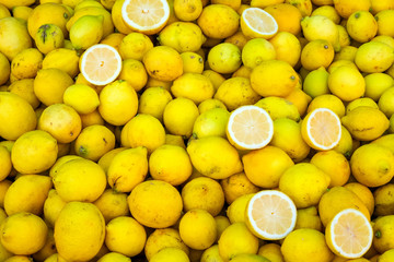Fresh lemons for sale at a market in Valparaiso, Chile