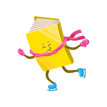 Funny humanized book character skating on ice cartoon vector Illustration