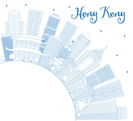 Outline Hong Kong China Skyline with Blue Buildings and Copy Space.
