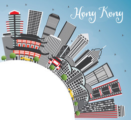 Hong Kong China Skyline with Gray Buildings, Blue Sky and Copy Space.