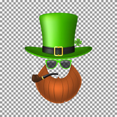 Saint Patrick's Concept Icon. Vector Illustration with Realistic Green Hat, Red Beard and Smoking Pipe Isolated on Transparent Backdrop.