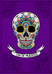 Mexican sugar skull with colorful floral pattern, Dia de Muertos, design element for poster, greeting card vector Illustration