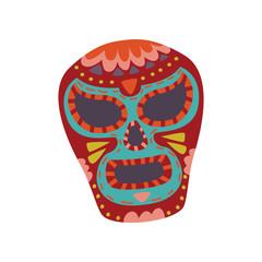Mexican sugar skull with colorful pattern, Dia de Muertos cartoon vector Illustration