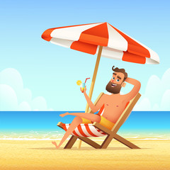 Beard man sitting on a sunbed on the beach. Happy smiling male relaxing on a chaise-longue and drink cocktail. Vector cartoon illustration.