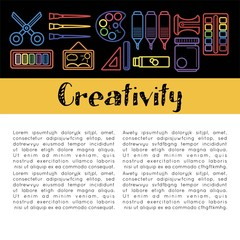 Kids creativity poster of art and drawing tools for children creative design education.