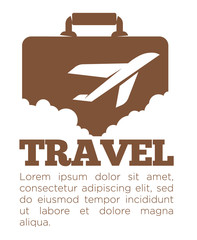 Travel agency vector poster template of suitcase and airplane