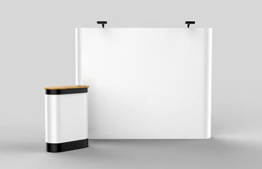 Exhibition Tension Fabric Display Banner Stand Backdrop for trade show advertising stand with LED OR Halogen Light with pop up counter.. 3d render illustration.