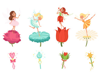 Set of little fairies hovering over beautiful flowers. Cartoon girls dressed in colorful dresses. Cute magical creatures with wings. Magic wands. Flat vector design