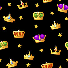 Seamless cartoon pattern with king crown icons. Assets for game design