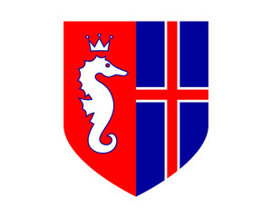 seahorses nautical marine life iceland shield