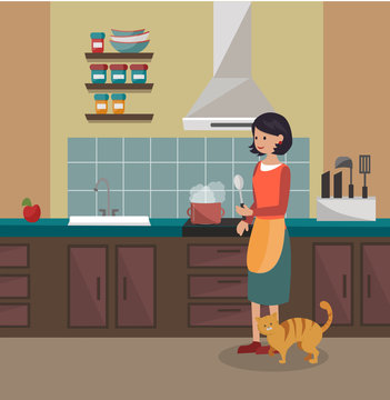 A woman is cooking dinner. Kitchen interier. Vector illustration.
