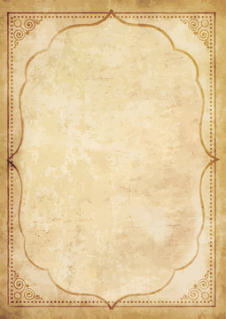 Old grungy vintage paper blank with curly oriental frame ornament.