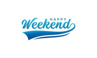 Simple Happy Weekend Letter Wallpaper Vector