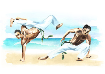 Two capoeira fighters on the beach, concept about people, lifestyle and sport, watercolor hand drawn  illustration.tif