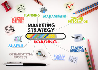 marketing strategy Concept. Chart with keywords and icons on white background.