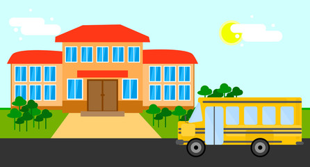 Bright flat illustration of school building, school bus and yard with trees for back to school banner or poster design.