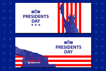 Presidents day illustration. President swears by the Bible. Silhouette of Hand on the Bible. Silhouette of Statue of Liberty.