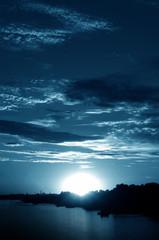 Blue night landscape