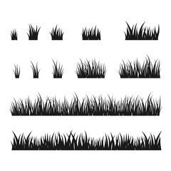 Silhouettes of black grass, vector set.