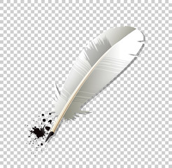 White realistic Ink feather pen and ink splatter isolated