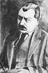 A charcoal drawing. Portrait of a serious mustached man in jacket