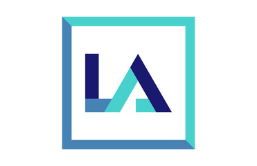 LA Square Ribbon letter Logo
