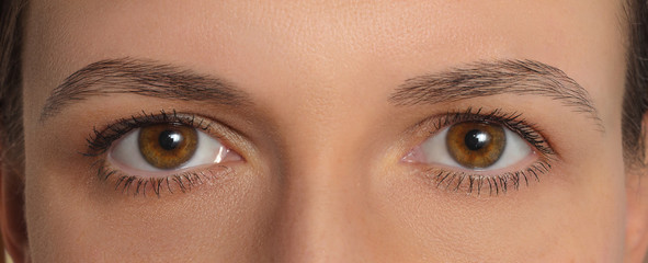 Symmetrical women's eyes . Symmetric macro mirrored two deep human eyes. Close-up brown eyes of European person.