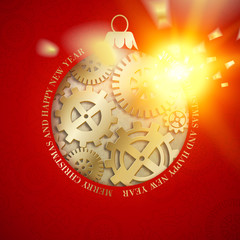 Steampunk background with mechanical gears and weels for christmas design, toy and golden spark placed over red background. Vector illustration