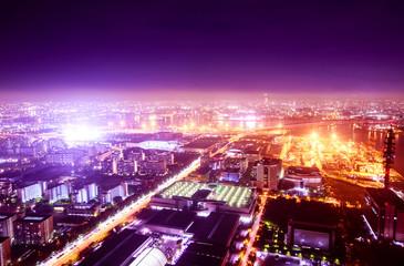 幻想的な夜の街 イルミネーション 背景