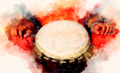 lady drummer with her djembe drum and softly blurred watercolor background.