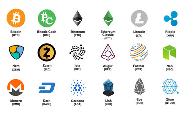 major crypto currency (bitcoin,altcoin etc.) logo icon set ( color version)