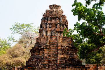 Ancient stupa , pagoda in archaeological site at Wat Mahathat temple . old sculpture in history is a world heritage .