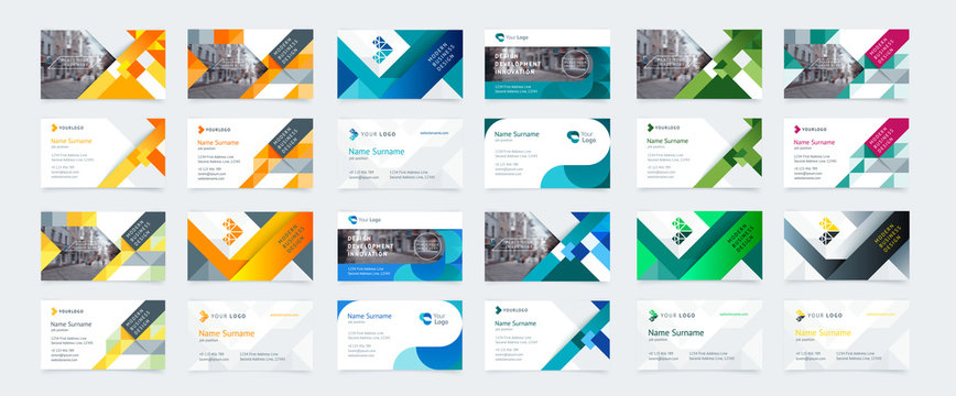 Vector creative business card template with triangles, squares, round, waves for business, technology. Simple and clean design with a logo and a place for a photo. Creative layout corporate identity.