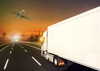 container truck and cargo plane and logistic industry background