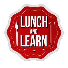 Lunch and learn label or sticker