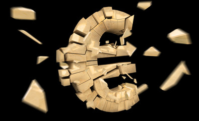 Exploding euro currency 3D rendering