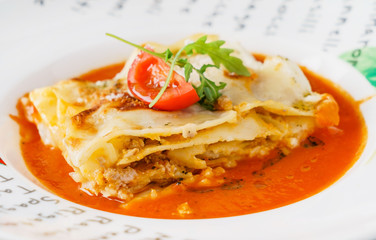tasty lasagna with sauce