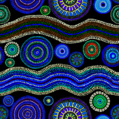 Ethnic design - dots, circles and waves. Glowing neon seamless pattern. Hand painting in australian aboriginal style.