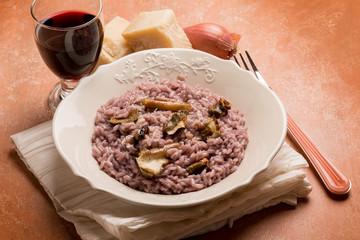 barolo risotto with parmesan cheese