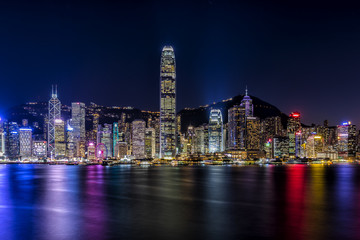 Fotomurales - Victoria Harbor of Hong Kong at night