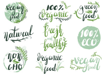 Natural organic labels. Organic food stickers and elements.Hand-lettering  Wall mural