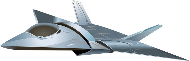 Stealth aircraft futuristic on white background isolated vector illustration