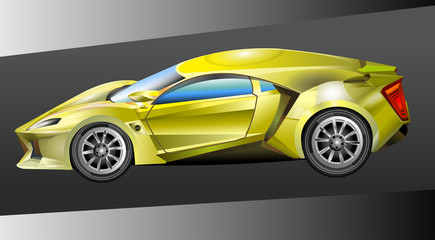 Vector illustration of a yellow sports car