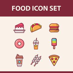 food icon set flat illustration full vector