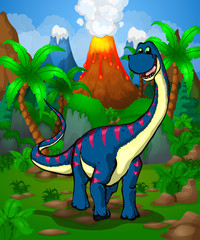 Cute cartoon Diplodocus. Vector illustration of a cartoon dinosaur.