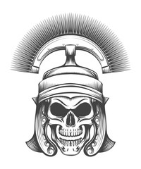 Skull in Rome Empire Centurion Helmet