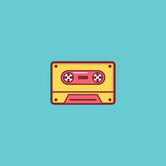 tape  music icon flat illustration full vector
