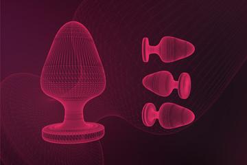 Butt anal plug sex toys on fuchsia background. 3D illustration.